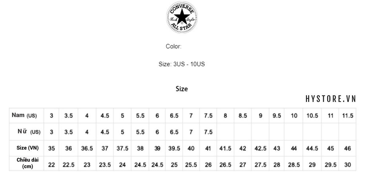 bảng size giày converse đen cổ thấp