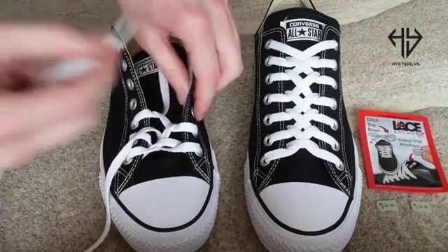 cách buộc dây giày converse cổ thấp kiểu zipper