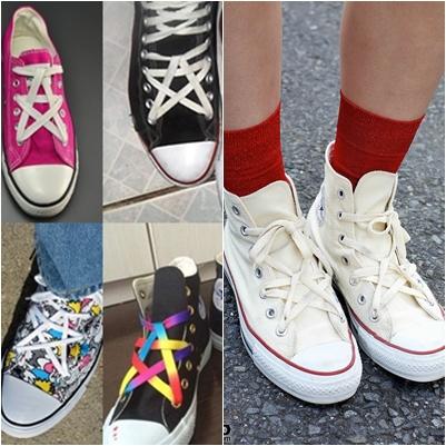 cách buộc dây giày converse cổ cao hình ngôi sao