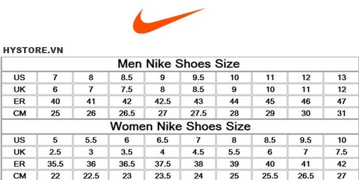 Bảng quy đổi size giày Nike